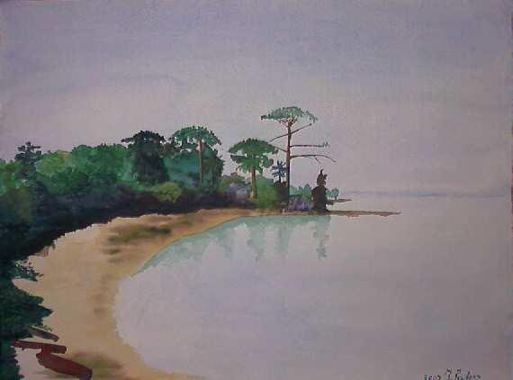 Baai in africa aquarel 50 x 65 cm